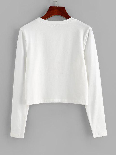 ZAFUL Buchstabe Grafik Chinoiserie Kurzes T-Shirt - Weiß S Mobile