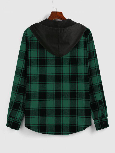chic ZAFUL Hooded Plaid Print Double Pockets Shirt - DEEP GREEN XL Mobile