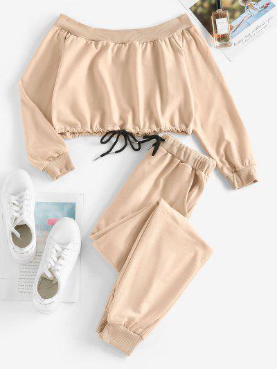 Off Shoulder Contrast Drawstring Pocket Jogger Pants Set - Light Coffee S
