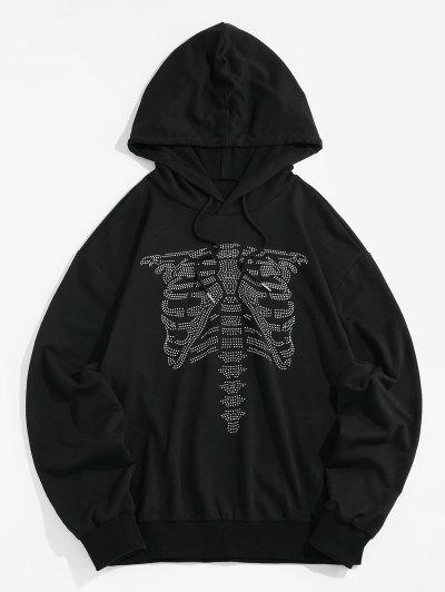 ZAFUL Abstract Skeleton Graphic Slouchy Drawstring Hoodie - Black S