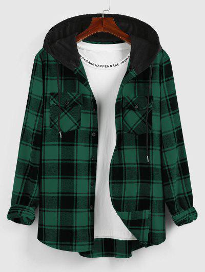 ZAFUL Hooded Plaid Print Double Pockets Shirt - Deep Green S