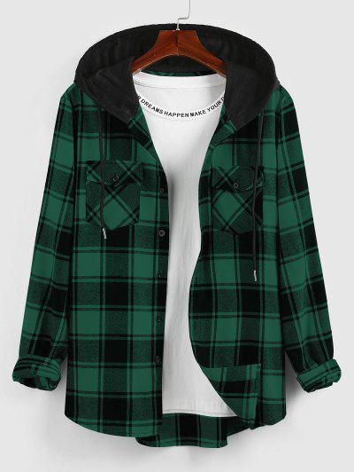 ZAFUL Hooded Plaid Print Double Pockets Shirt - Deep Green M