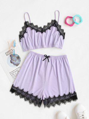 zaful ZAFUL Plus Size Lace Trim Pyjamas
