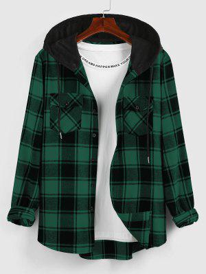 zaful ZAFUL Hooded Plaid Print Double Pockets Shirt