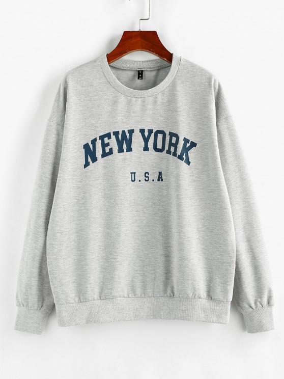 ZAFUL Letter Print Crew Neck Graphic Sweatshirt - رمادي فاتح XL