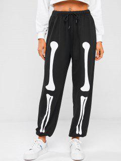 ZAFUL Pantalones Deportivos Con Estampado De Esqueleto - Negro M