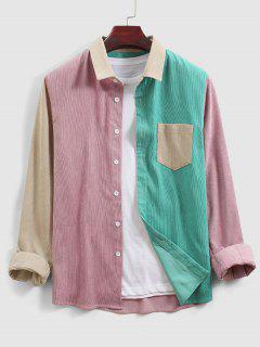 Camisa Manga Larga Color Bloque Novio Bolsillo - Multicolor S