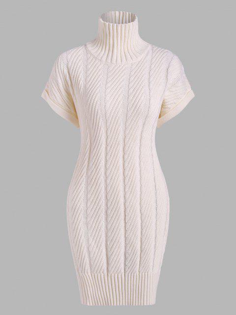 Vestido de Jersey Suelto con Cuello Embudo de Punto - Blanco Talla única Mobile