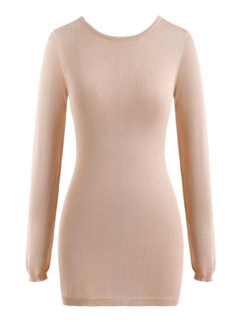 Rückenfreies Seitenschlitzkleid mit Langen Ärmeln und Passen Sie Ihre Verschiedenen Kleider - Licht Kaffee L Mobile