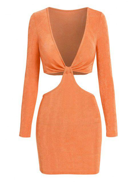 ZAFUL Jersey Verdrehtes T-Shirt mit Schnürverschluss - Hell orange M Mobile