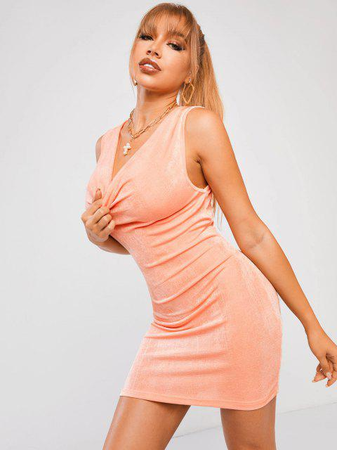 ZAFUL Drapiertes Wasserfallausschnitt Gestricktes Minikleid - Hell orange S Mobile
