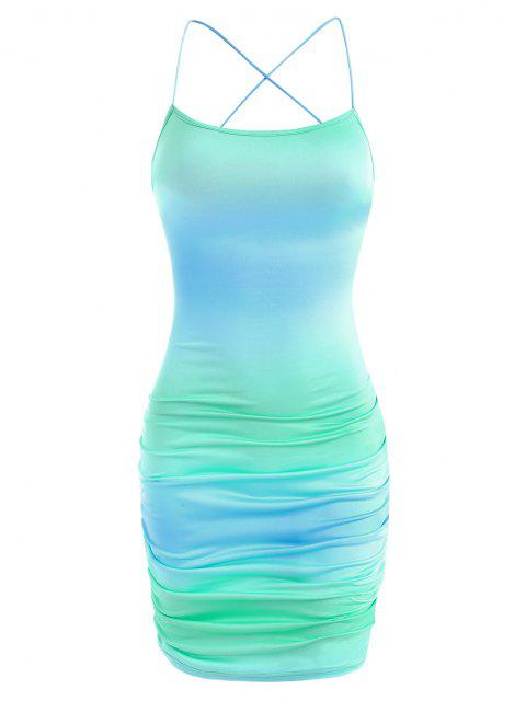 trendy Tie Dye Ruched Lace-up Open Back Slinky Dress - MULTI M Mobile