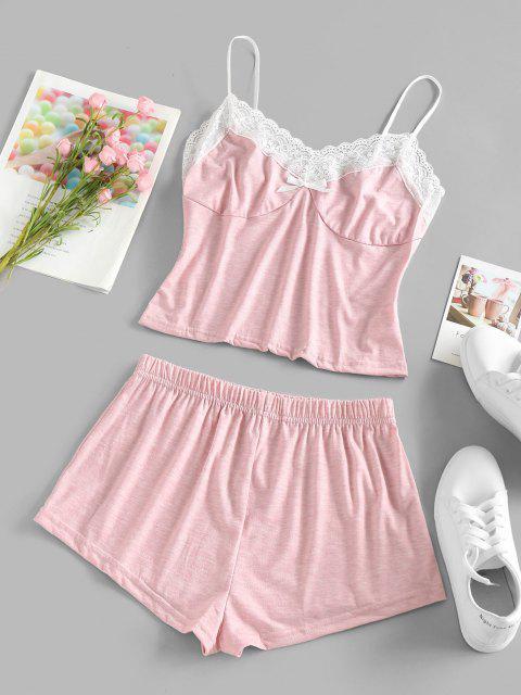 ZAFUL Set de Pijama con Lazo de Encaje - Rosa claro S Mobile