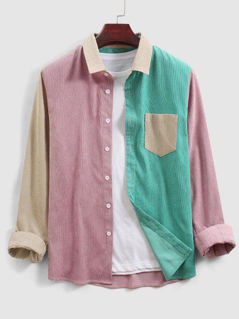 Camisa Manga Larga Color Bloque Novio Bolsillo - Multicolor S Mobile