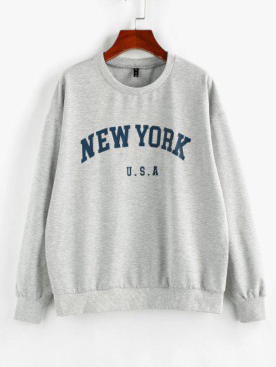 ZAFUL Letter Print Crew Neck Graphic Sweatshirt - Light Gray S