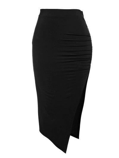 ZAFUL Ruched Thigh Split Bodycon Skirt - Black M
