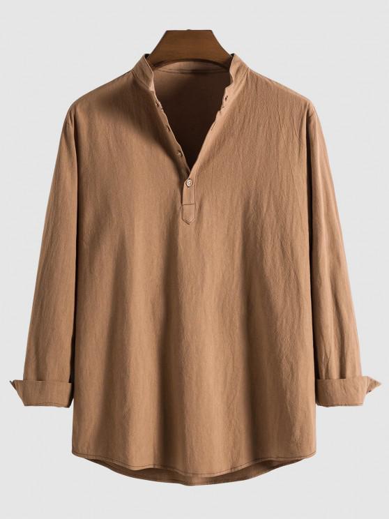 Halber Knopf Langarm Einfarbiges Hemd - Kaffee M