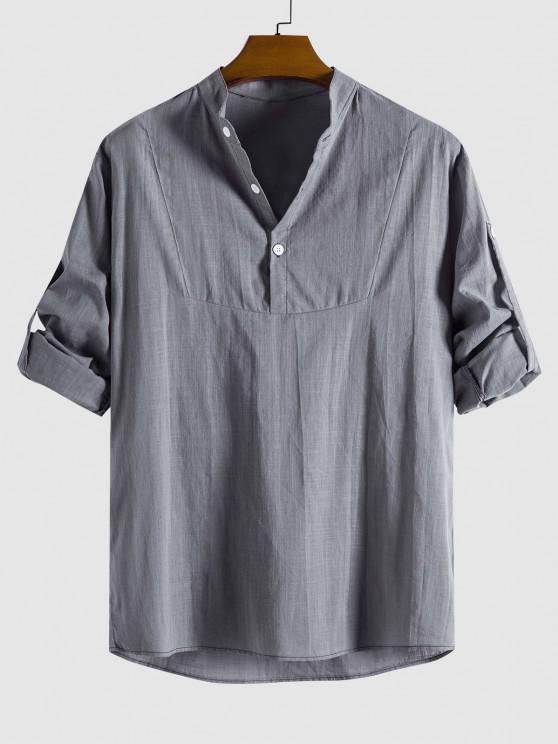 Halbes Knopf Langarm Hemd - Grau M