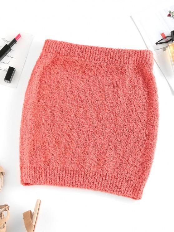 ZAFUL Solid Fuzzy Knit Slinky Mini Skirt - البرتقالي L
