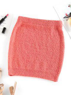 ZAFUL Mini Falda De Tejido Grueso De Color Sólido - Naranja L