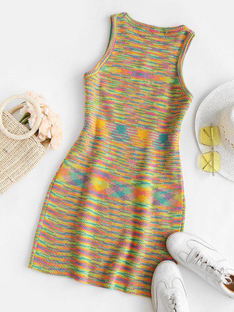 shops Rainbow Striped Sleeveless Slinky Sweater Dress - MULTI S Mobile