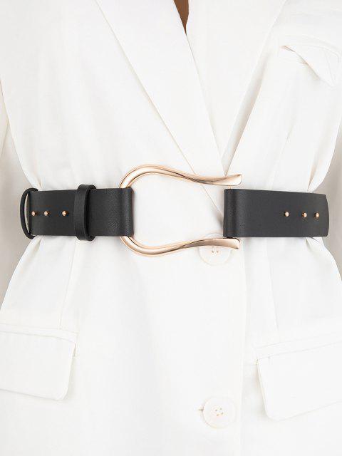 Unregelmäßige Schnalle Kleid Gürtel - Schwarz  Mobile