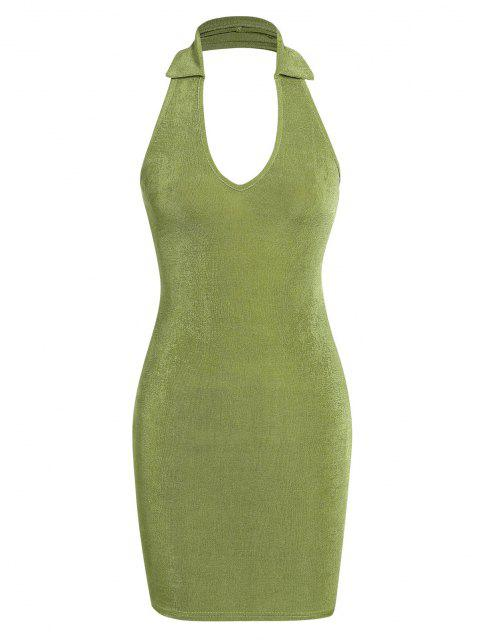 ZAFUL Halfter Bodycon Kleid mit Umlegekragen - Hellgrün L Mobile