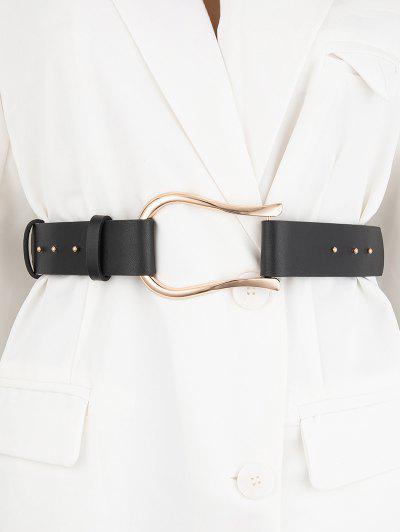 Irregular Buckle Dress Belt - Black