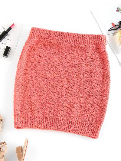 ZAFUL Solid Fuzzy Knit Slinky Mini Skirt - Orange L