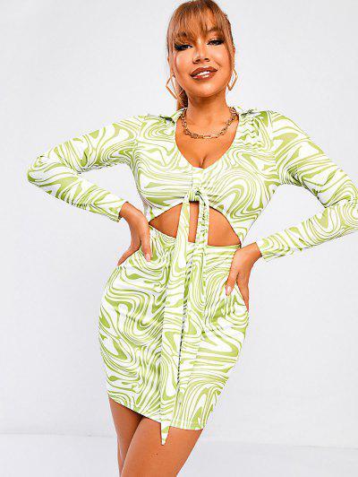 ZAFUL Liquid Marble Print Tied Cutout Slinky Dress - Light Green S