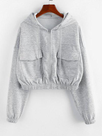 ZAFUL Front Zip Pockets Crop Hoodie - Light Gray Xl