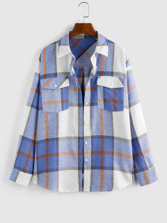 Plaid Double Pockets Button Up Shacket - Blue L