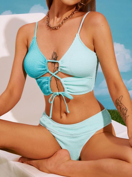 ZAFUL Zweifarben Tankini Badebekleidung mit Schnürung - Hellblau S