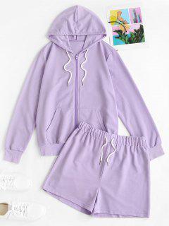 Sweat Zip Up Hoodie And Drawstring Shorts Set - Light Purple Xl