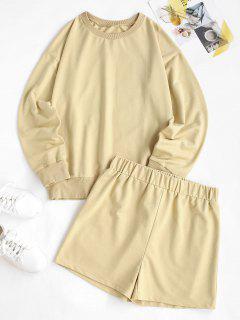 Sweat Crewneck Two Piece Shorts Set - Light Yellow Xl