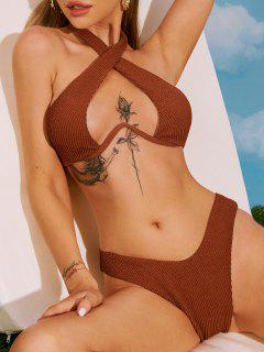 ZAFUL Conjunto De Bikini De Criss Cross Cabestro Con Textura - Café M