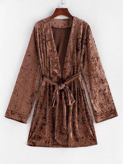ZAFUL Belted Crushed Velvet Nightwear Robe - Deep Coffee Xl