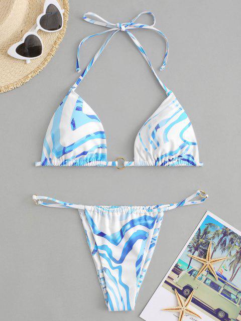 outfit ZAFUL Water Ripple Ring Halter String Bikini Swimwear - LIGHT BLUE L Mobile