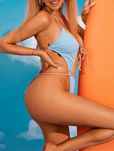 ZAFUL Halter Ribbed Cutout Tie Trikini Thong Swimsuit - Light Blue Xl