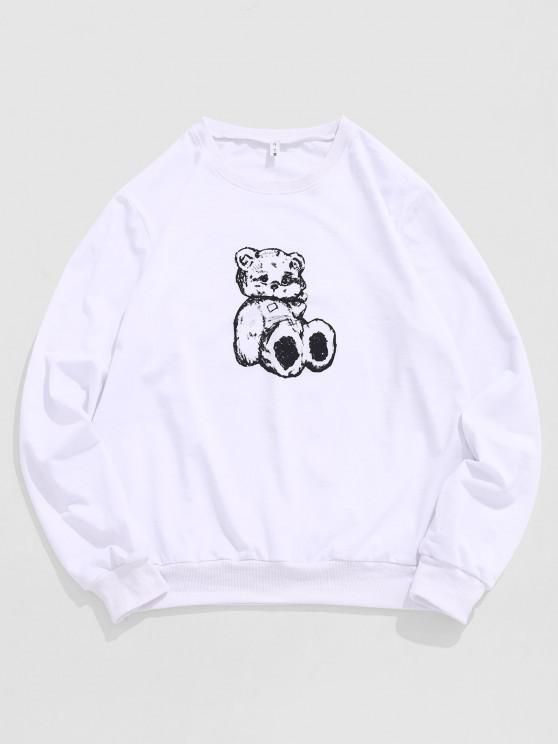 Cartoon Bear Toy Print Sweatshirt - أبيض S