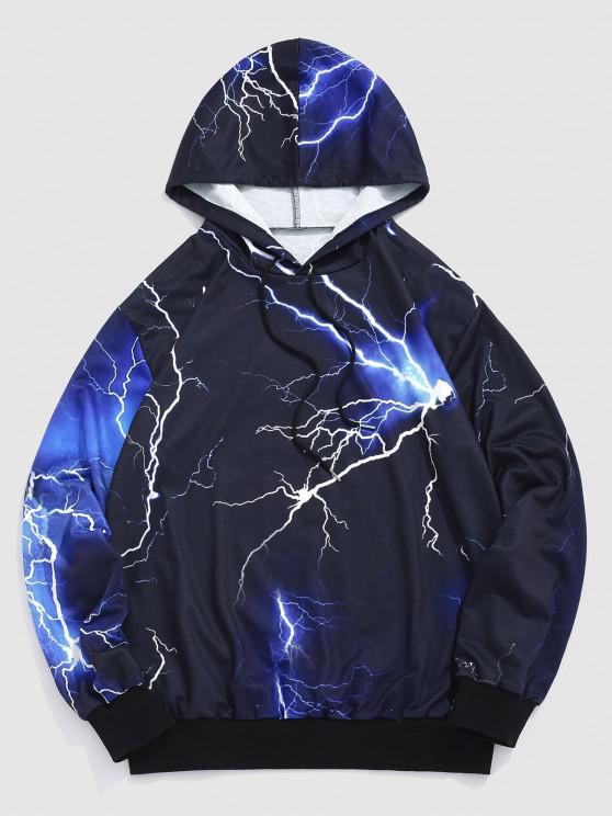Allover Lightning Print Drawstring Hoodie - أسود L