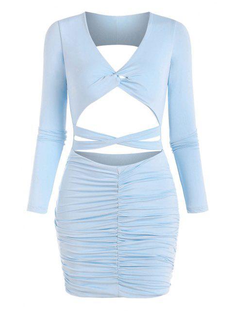 Verdrehtes Kreuzes und Queres Kleid mit Rüschenbesatz - Helles Blau XS Mobile