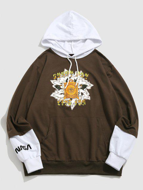 affordable ZAFUL Devil Box Graphic Print Doctor Sleeve Hoodie - DEEP COFFEE S Mobile