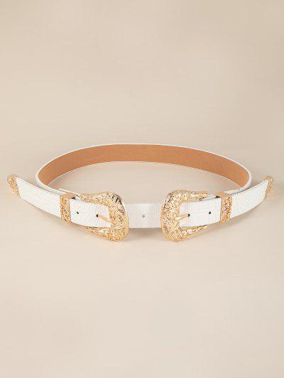 Retro Double Buckle Western Belt - White