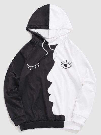 Face Eyes Print Two Tone Hoodie - Black S