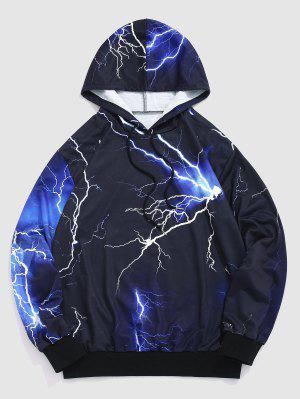 zaful Allover Lightning Print Drawstring Hoodie