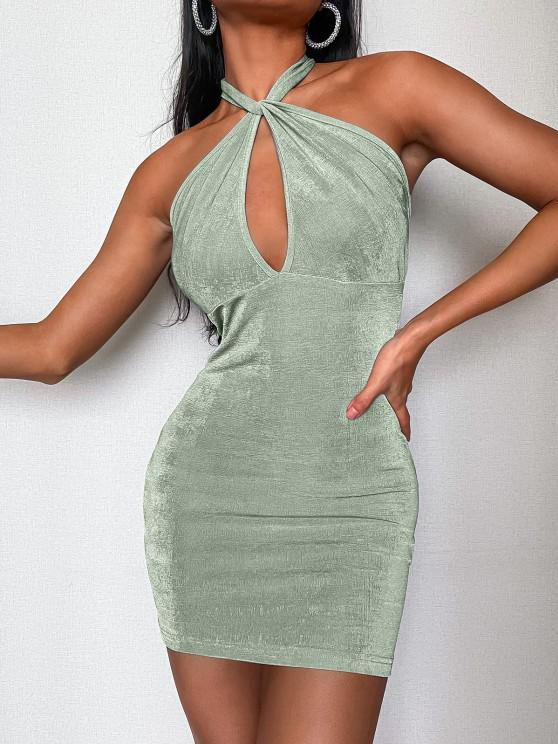 ladies ZAFUL Halter Keyhole Backless Slinky Dress - LIGHT GREEN S