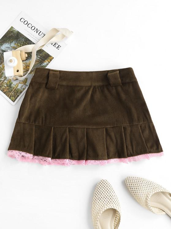 Lace Trim Corduroy Pleated Detail Mini Skirt - قهوة S
