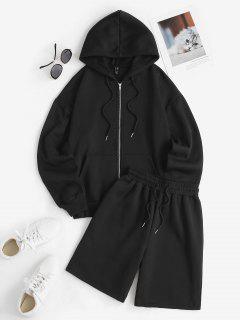 Fleece Lining Zip Up Hoodie And Drawstring Sweat Shorts Set - Black L