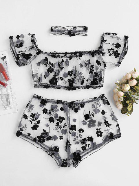 Conjunto de Lencería de Flores de Malla Flocado de Hombro Descubierto - Negro M Mobile